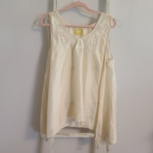 Maeve♡ Embroidered 100% Silk sheer sharkbite top